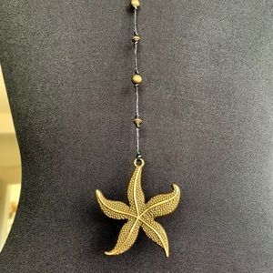 Hand-beaded Brass Sea Star Necklace